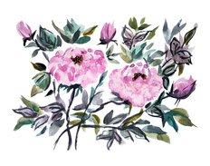 Decorative Watercolor Peony Flowers Wall Mural