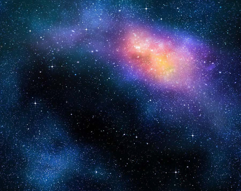Pink Space Burst galaxy with stars