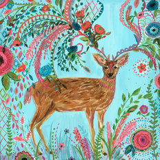 Deer in the Garden Wallpaper Mural