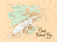 Denali National Park, AK Lake Map Mural Wallpaper