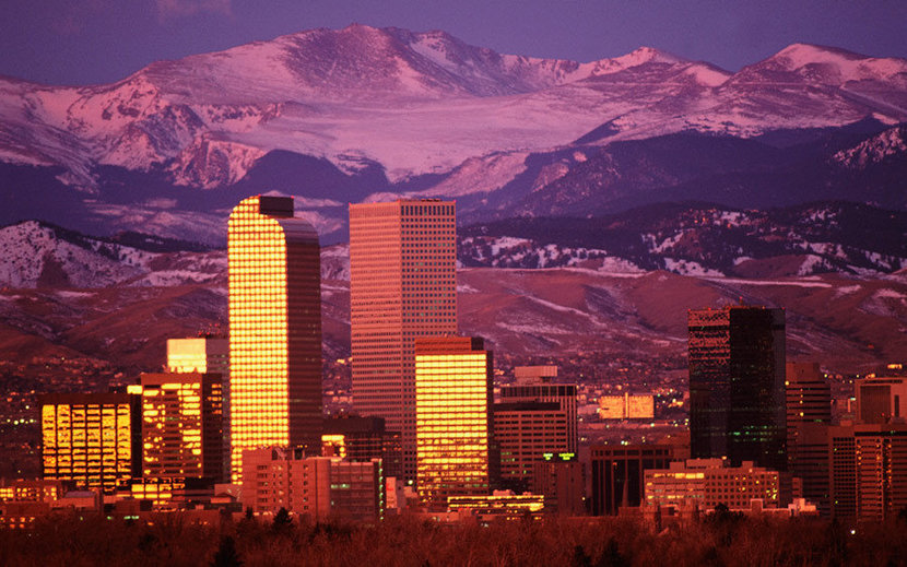 Denver And Mountains Lavender Wall Mural