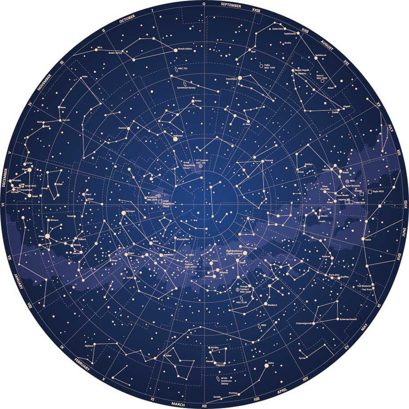 Detailed Map Of Constellations Wallpaper Mural