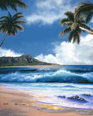 Diamond Head Blue Sky Mural Wallpaper