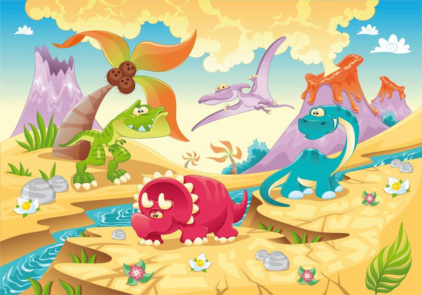 Dino Volcano features many colorful dinosaurs