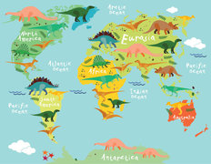 Dinosaur World Map Mural Wallpaper