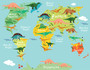 Scaled View of Dinosaur World Map Mural Wallpaper