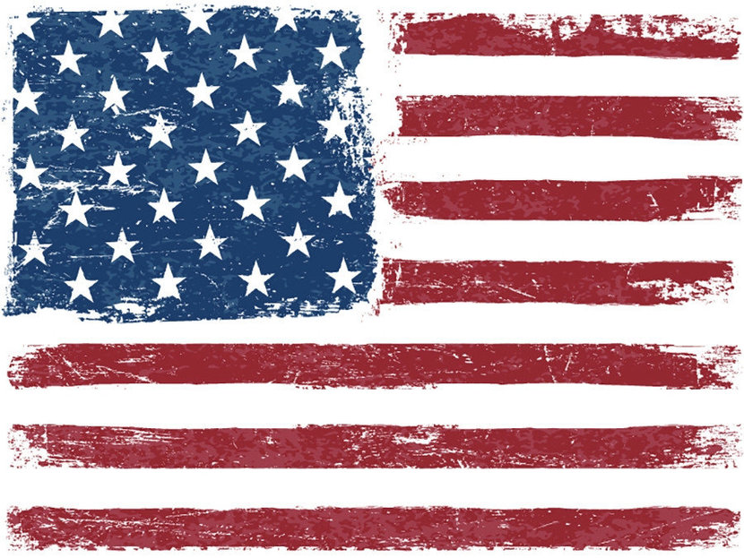 Distressed American flag with a vintage and grungy texture