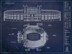 Doak Campbell Stadium Blueprint Wall Mural