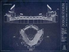 Dodger Stadium Blueprint Wallpaper Mural