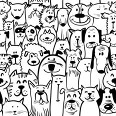 Dog and Cat Doodle Wallpaper