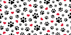 Dog Paw Print Love Wallpaper Mural