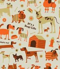 Dogs - Beige Wallpaper