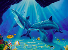 Dolphin Cave Mural Wallpaper