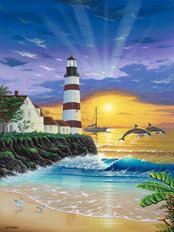Dolphin Lighthouse Wallpaper Mural