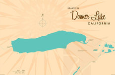 Donner Lake, CA Lake Map Wallpaper Mural