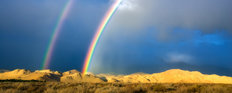 Double Rainbow Over Eastern Sierra Mountains Wall Mural