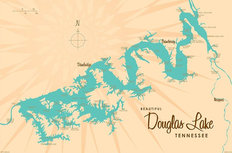 Douglas Lake, TN Lake Map Mural Wallpaper