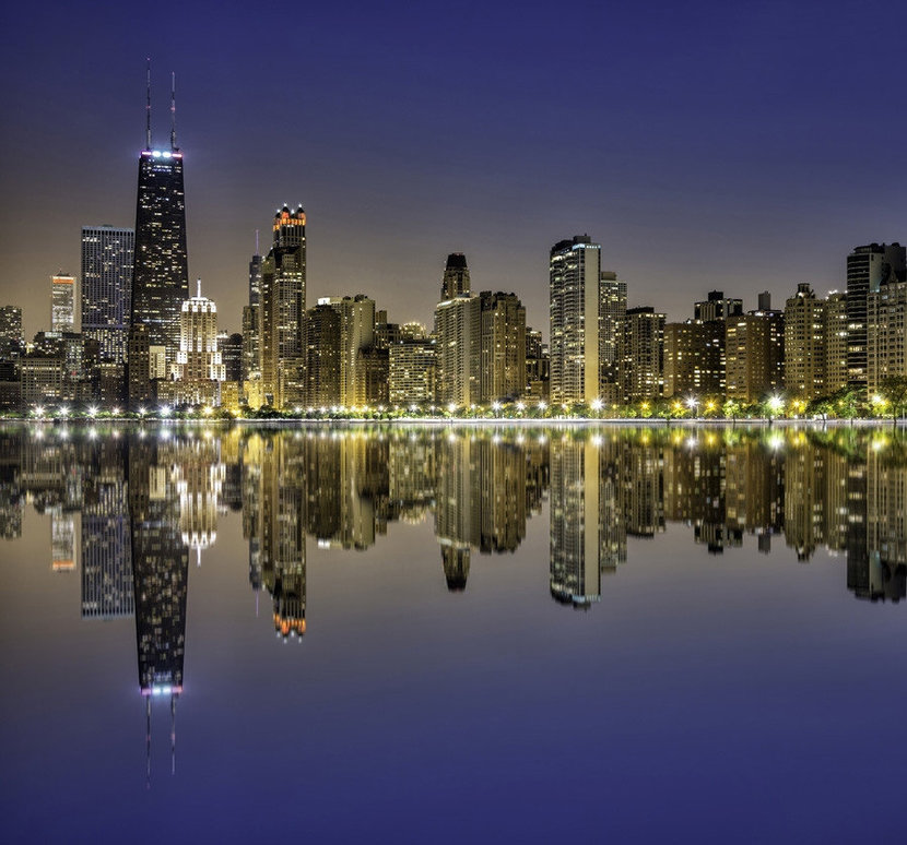 Downtown Chicago Magnificent Mile Mural Wallpaper