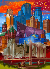 Downtown Minneapolis Skyline Wallpaper Mural