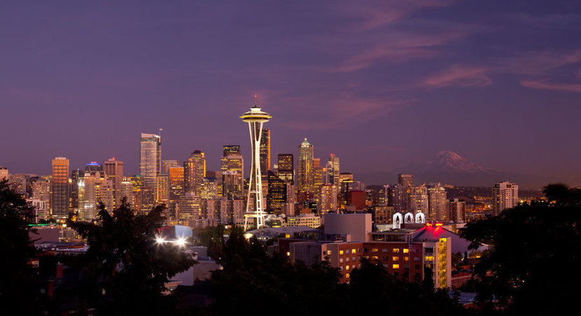 Downtown Seattle and Mt. Rainier at Dusk Wallpaper Mural