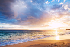 Dramatic Sunset On A Hawaiian Beach Wall Mural