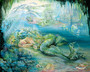 Dreams of Atlantis painting by Josephine Wall depicting a beautiful mermaid sleeping under the sea
