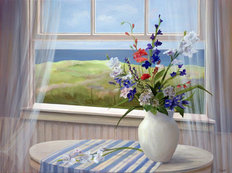 Dune Window with Flowers Wallpaper Mural