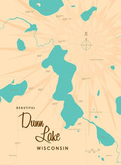 Dunn Lake, WI Lake Map Wall Mural