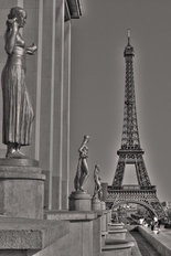 Eiffel Tower - Black and White Wallpaper Mural