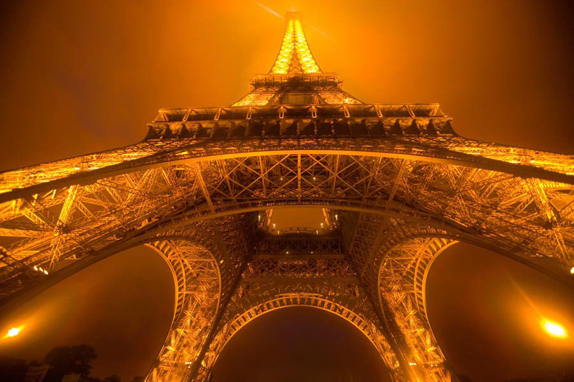 Eiffel Tower, Foggy Night Wall Mural