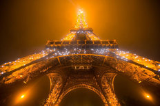Eiffel Tower on a Foggy and Rainy Night Mural Wallpaper
