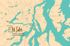 Eld Inlet, WA Lake Map Wall Mural