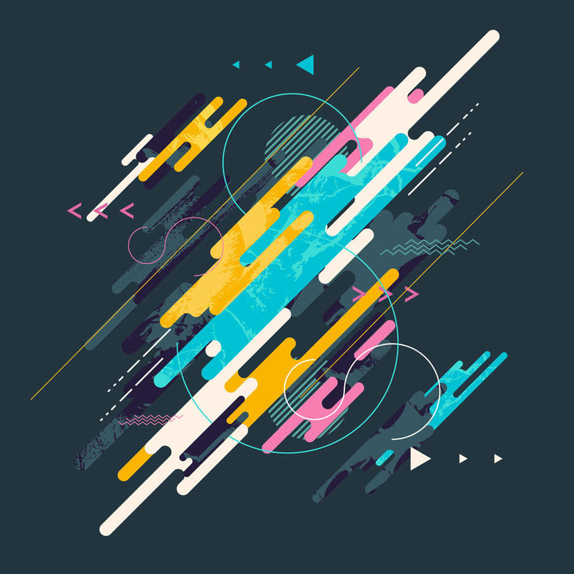 graphic design is filled with colorful organic shapes converging with one another