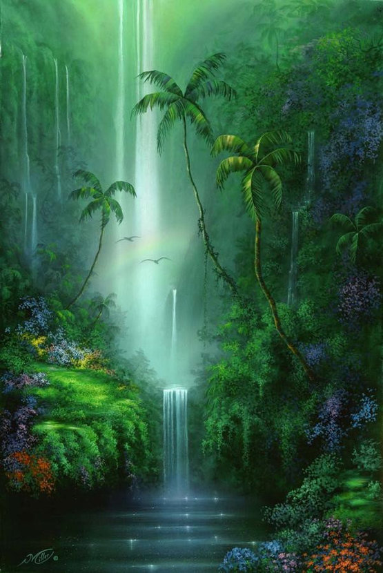 illustration of multiple waterfalls over emerald green cliffs with green plants and colorful flowers
