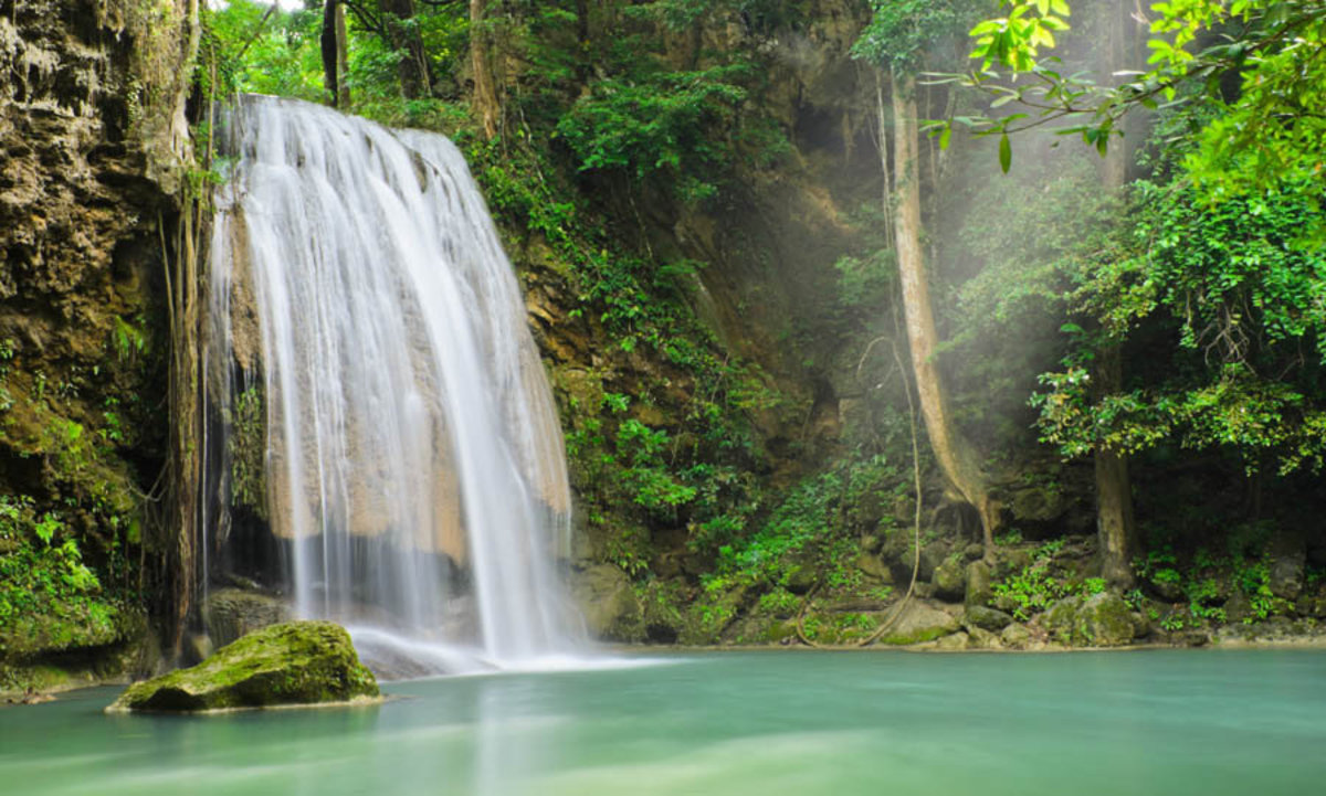Erawan Waterfall In Kanchaburi, Thailand Mural Wallpaper