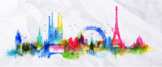 Europe Landmark Splash Wallpaper Mural