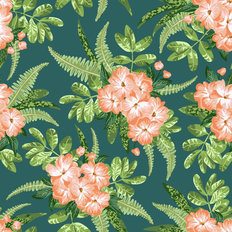 Exotic Hibiscus Pattern Wallpaper