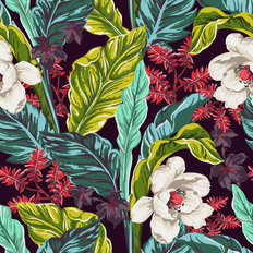 Exotic Leaves And Blooms Pattern Wallpaper