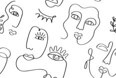 Faces Doodle Pattern Wallpaper
