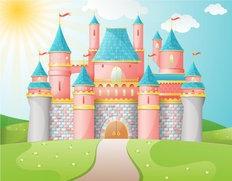 Fairytale Castle Illustration Wall Mural