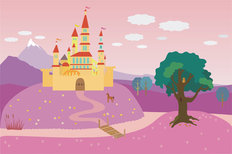 Fairytale Castle On The Hill Wall Mural