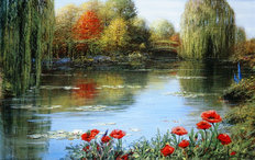 Fall Reflections-Giverny Mural Wallpaper