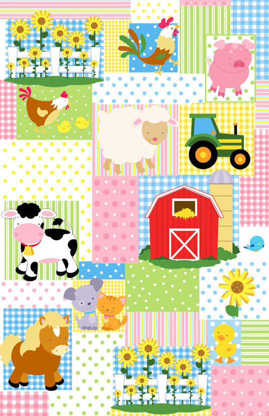 Farm Friends Patchwork Mural Wallpaper