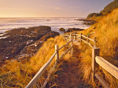 Fenced Pathway To Beach Wall Mural