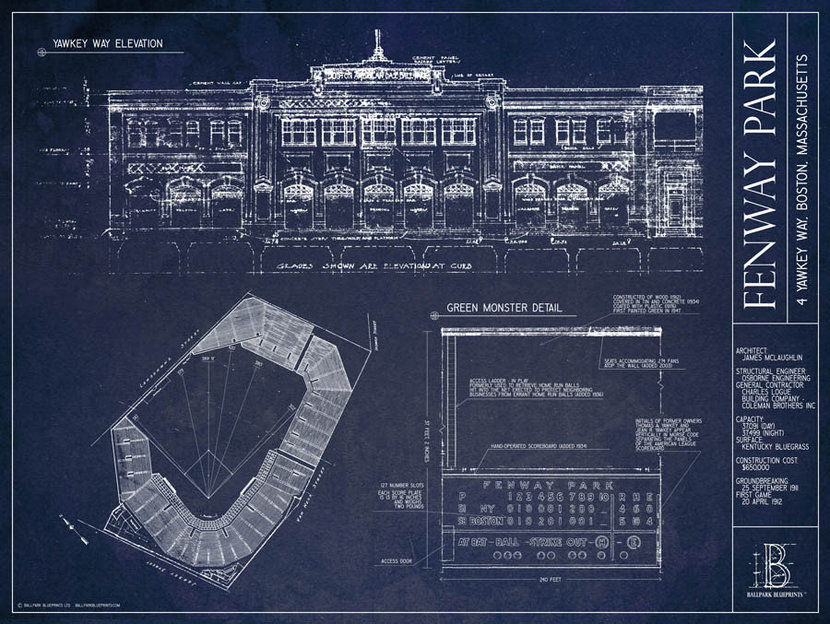 Fenway Park baseball blueprint with architectural drawings and detailed notes