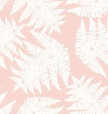 Ferns On Blush Background Mural Wallpaper