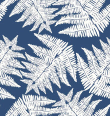 Ferns On Navy Background Mural Wallpaper
