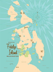 Fidalgo Island, WA Lake Map Mural Wallpaper