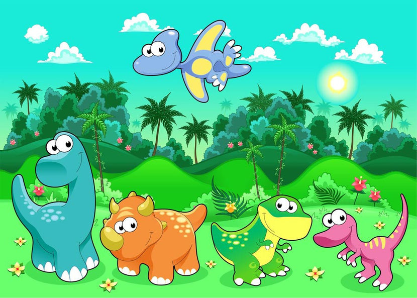 adorable cartoon dinosaurs with a jungle background