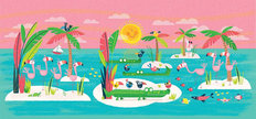 Flamingo Island Wall Mural